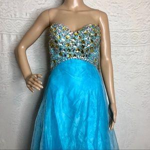 Jeweled Blue Princess Prom Dress